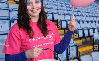 Edwards Trust, Face Painting Record Attempt. Villa Park. 18th April 2012..Pictured is Jennifer Downing from Irwin Mitchell in The Trinity Road Stand.Picture by Simon Hadley.www.simonhadley.co.uk/ 07774 193699